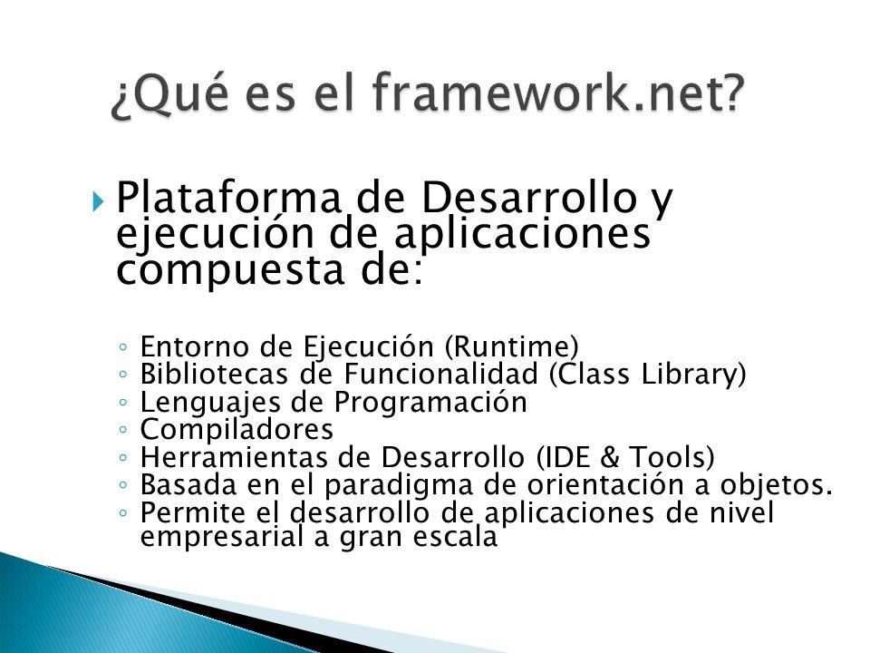 Plataforma de Desarrollo y ejecución de aplicaciones compuesta de: Entorno de Ejecución (Runtime) Bibliotecas de Funcionalidad (Class Library) Lenguaj