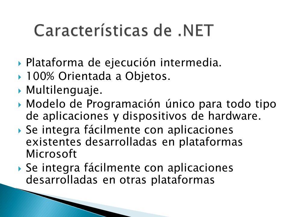 Plataforma de ejecución intermedia. 100% Orientada a Objetos. Multilenguaje. Modelo de Programación único para todo tipo de aplicaciones y dispositivo