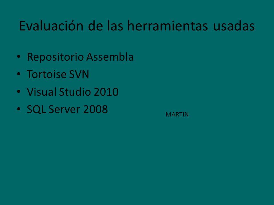 Evaluación de las herramientas usadas Repositorio Assembla Tortoise SVN Visual Studio 2010 SQL Server 2008 MARTIN