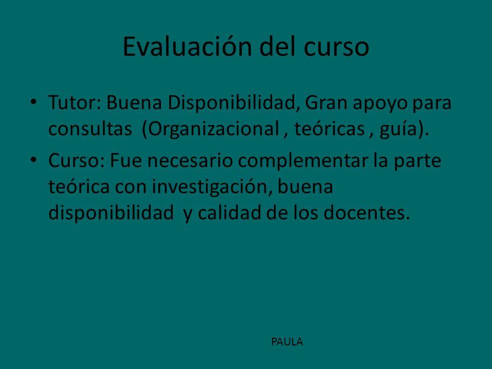Evaluación del curso Tutor: Buena Disponibilidad, Gran apoyo para consultas (Organizacional, teóricas, guía). Curso: Fue necesario complementar la par