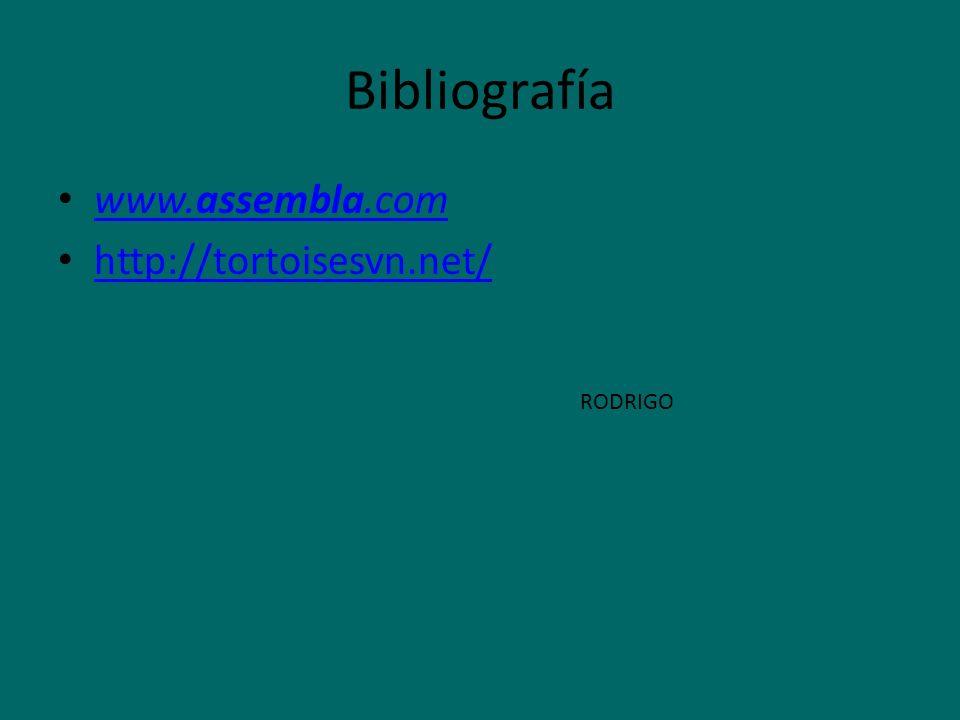 Bibliografía www.assembla.com www.assembla.com http://tortoisesvn.net/ RODRIGO