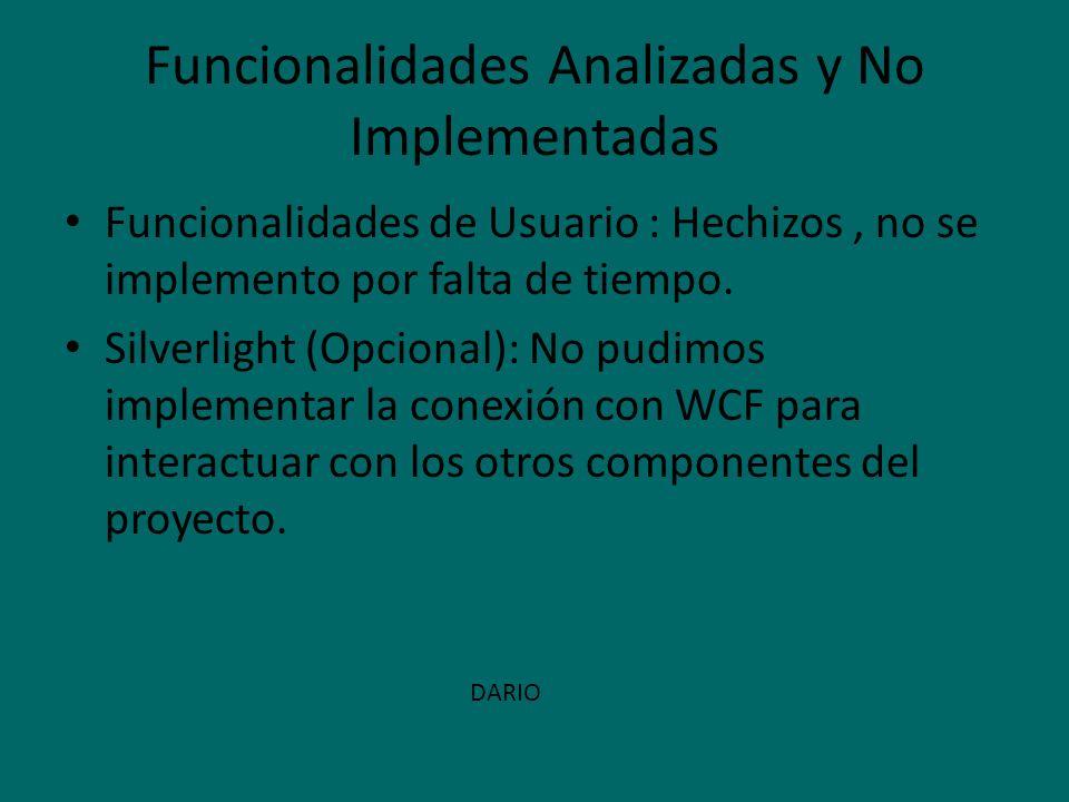 Funcionalidades Analizadas y No Implementadas Funcionalidades de Usuario : Hechizos, no se implemento por falta de tiempo. Silverlight (Opcional): No