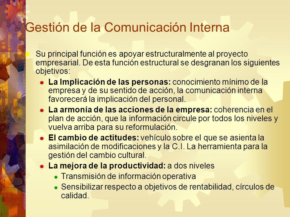 Gestión de la Comunicación Interna Su principal función es apoyar estructuralmente al proyecto empresarial. De esta función estructural se desgranan l