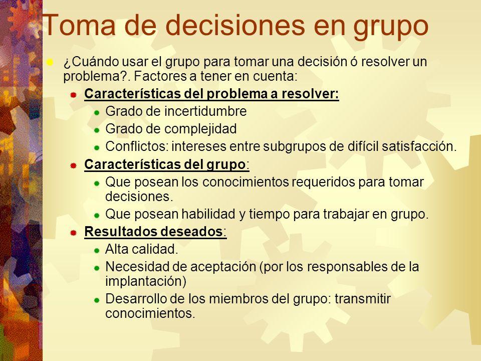 Toma de decisiones en grupo ¿Cuándo usar el grupo para tomar una decisión ó resolver un problema?. Factores a tener en cuenta: Características del pro