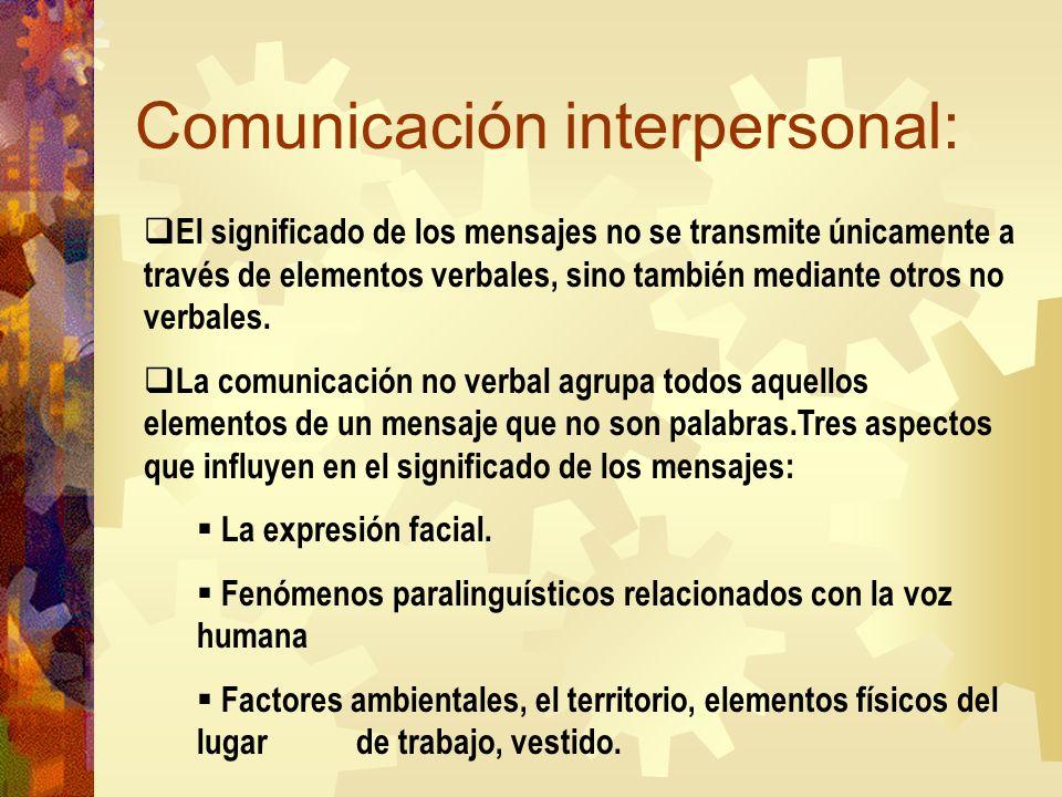 Comunicación interpersonal: El significado de los mensajes no se transmite únicamente a través de elementos verbales, sino también mediante otros no v