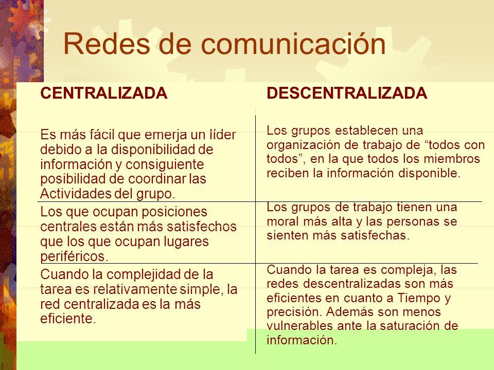 Redes de comunicación CENTRALIZADA Es más fácil que emerja un líder debido a la disponibilidad de información y consiguiente posibilidad de coordinar