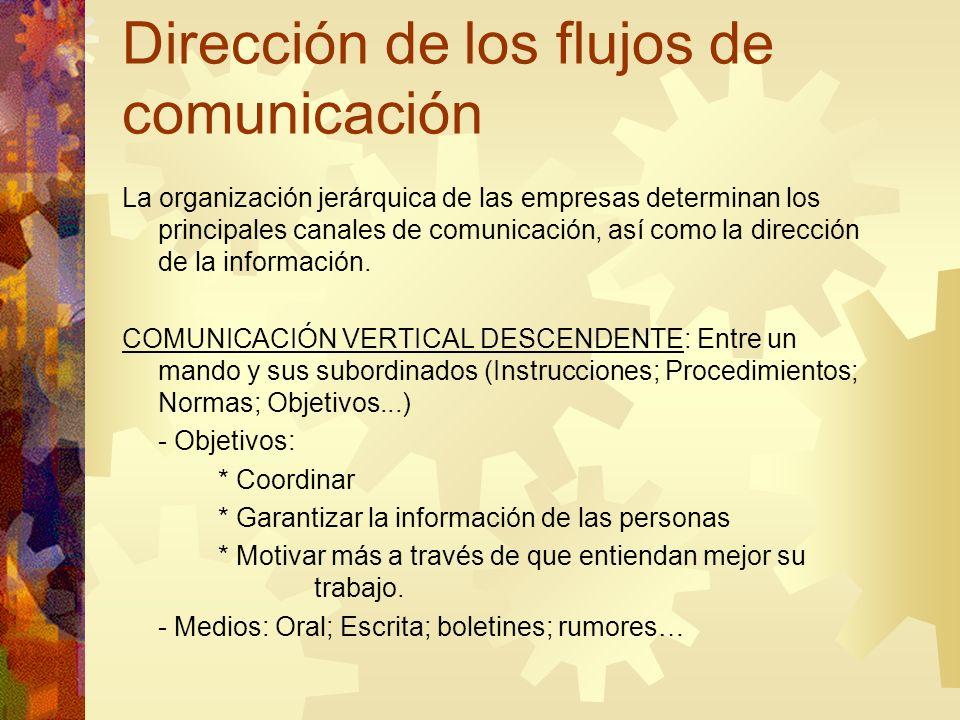 Dirección de los flujos de comunicación La organización jerárquica de las empresas determinan los principales canales de comunicación, así como la dir