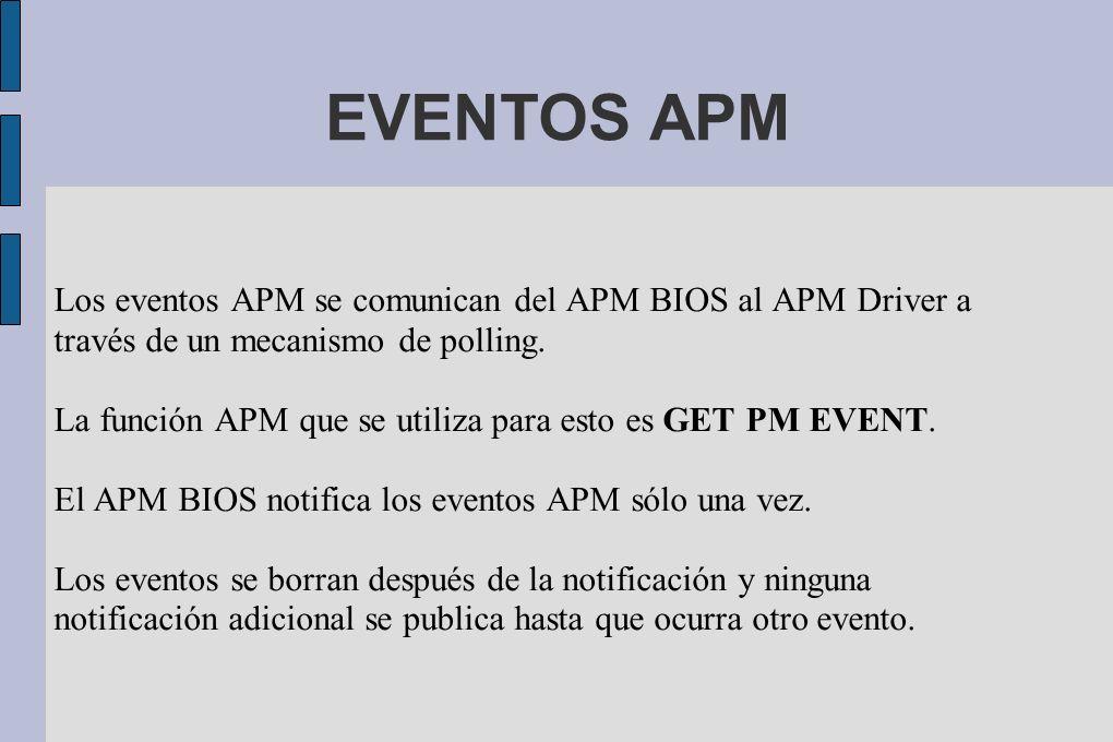 EVENTOS APM Los eventos APM se comunican del APM BIOS al APM Driver a través de un mecanismo de polling.