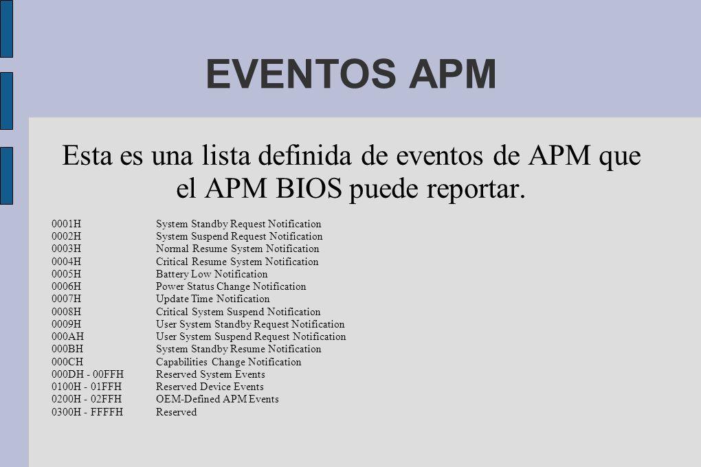 EVENTOS APM Esta es una lista definida de eventos de APM que el APM BIOS puede reportar.
