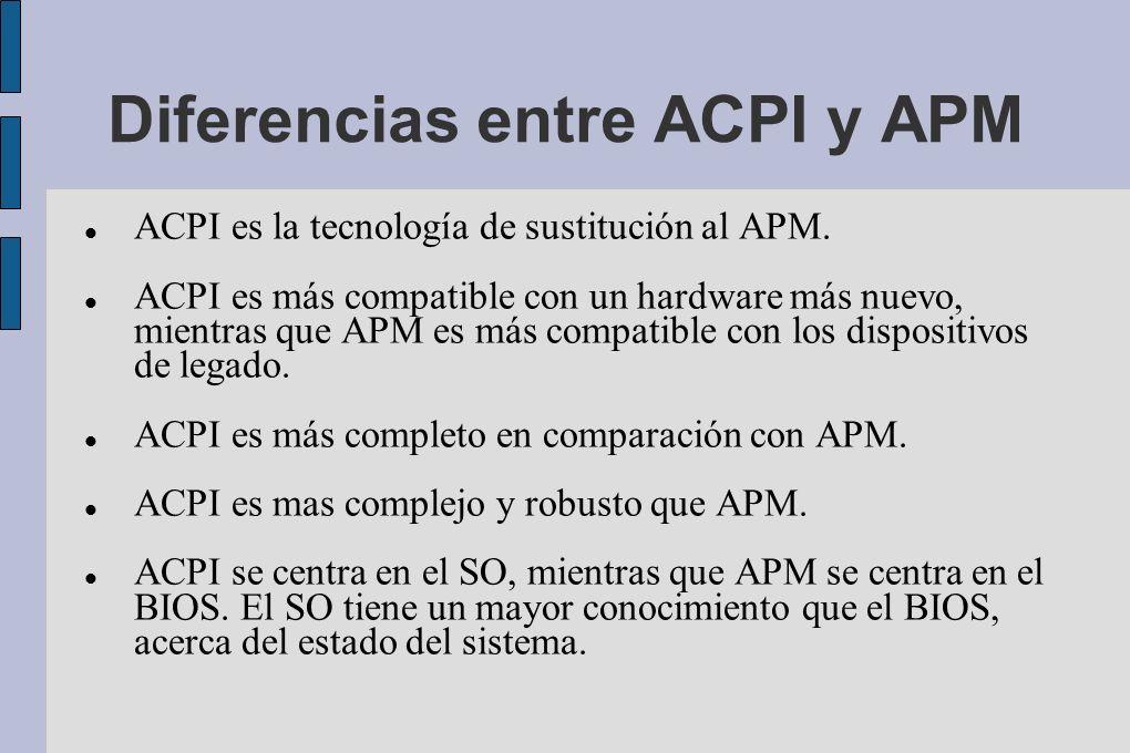 Diferencias entre ACPI y APM ACPI es la tecnología de sustitución al APM.