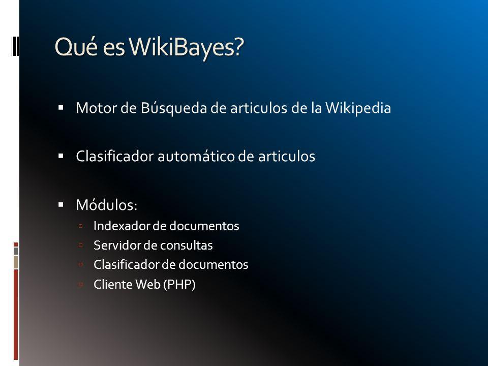 Motor de Búsqueda de articulos de la Wikipedia Clasificador automático de articulos Módulos: Indexador de documentos Servidor de consultas Clasificado