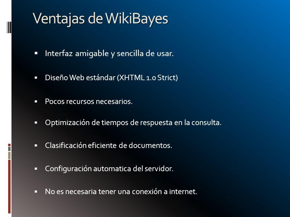 Ventajas de WikiBayes Interfaz amigable y sencilla de usar. Diseño Web estándar (XHTML 1.0 Strict) Pocos recursos necesarios. Optimización de tiempos