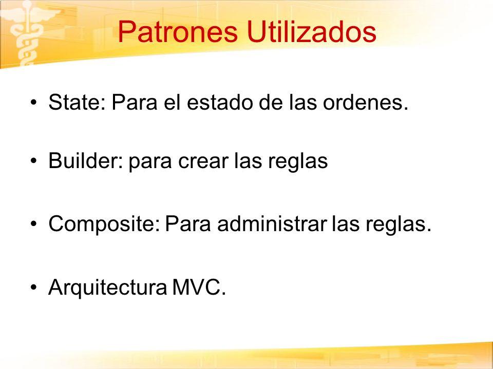 Patrones Utilizados State: Para el estado de las ordenes. Builder: para crear las reglas Composite: Para administrar las reglas. Arquitectura MVC.