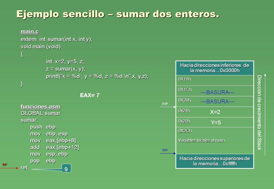 Y=5 Ejemplo sencillo – sumar dos enteros. funciones.asm GLOBAL sumar sumar: pushebp movebp, esp moveax,[ebp+8] addeax,[ebp+12] movesp, ebp popebp ret