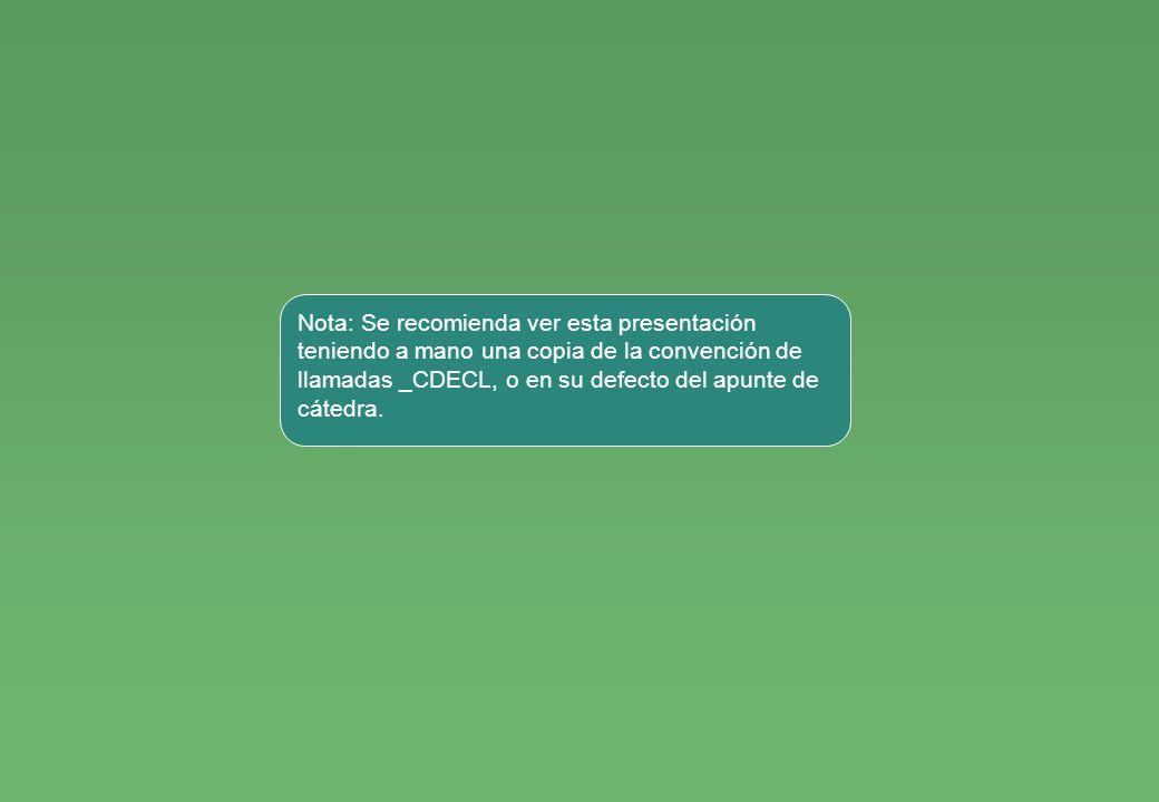 Nota: Se recomienda ver esta presentación teniendo a mano una copia de la convención de llamadas _CDECL, o en su defecto del apunte de cátedra.