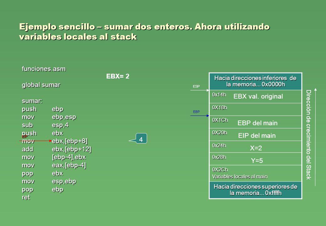 Ejemplo sencillo – sumar dos enteros. Ahora utilizando variables locales al stack funciones.asm global sumar sumar: pushebp movebp,esp subesp,4 pusheb