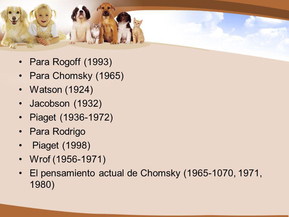 Para Rogoff (1993) Para Chomsky (1965) Watson (1924) Jacobson (1932) Piaget (1936-1972) Para Rodrigo Piaget (1998) Wrof (1956-1971) El pensamiento actual de Chomsky (1965-1070, 1971, 1980)