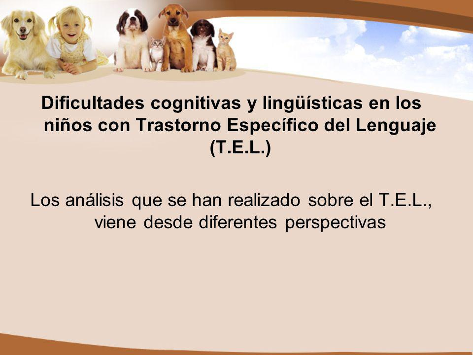 Dificultades cognitivas y lingüísticas en los niños con Trastorno Específico del Lenguaje (T.E.L.) Los análisis que se han realizado sobre el T.E.L., viene desde diferentes perspectivas