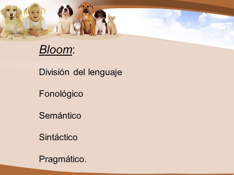 Bloom: División del lenguaje Fonológico Semántico Sintáctico Pragmático.
