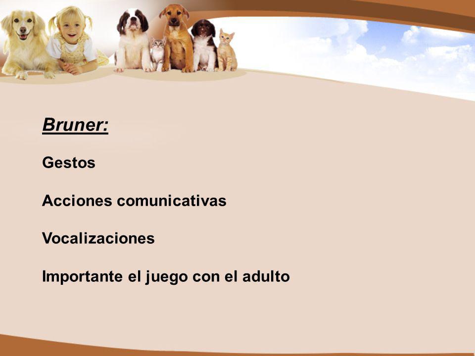 Bruner: Gestos Acciones comunicativas Vocalizaciones Importante el juego con el adulto