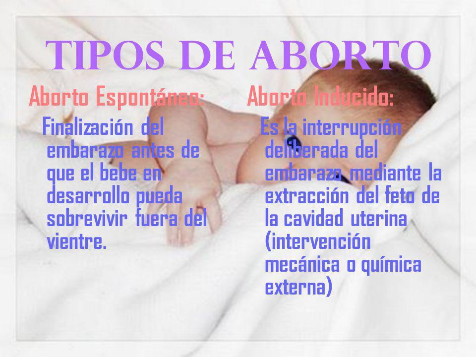 Tipos de aborto Aborto Espontáneo: Finalización del embarazo antes de que el bebe en desarrollo pueda sobrevivir fuera del vientre.