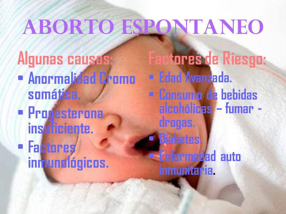 Tipos de aborto Aborto Espontáneo: Finalización del embarazo antes de que el bebe en desarrollo pueda sobrevivir fuera del vientre. Aborto Inducido: E