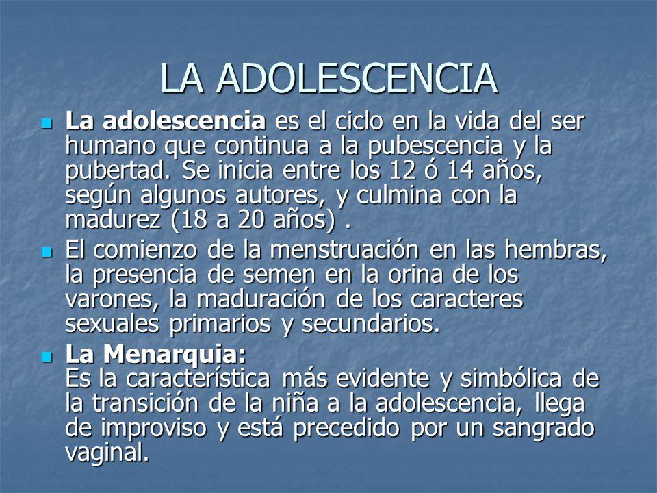LA ADOLESCENCIA La adolescencia es el ciclo en la vida del ser humano que continua a la pubescencia y la pubertad. Se inicia entre los 12 ó 14 años, s