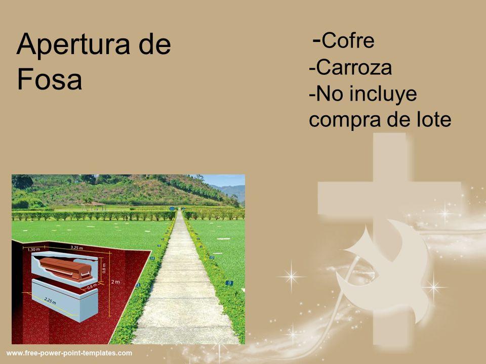 - Cofre -Carroza -No incluye compra de lote Apertura de Fosa