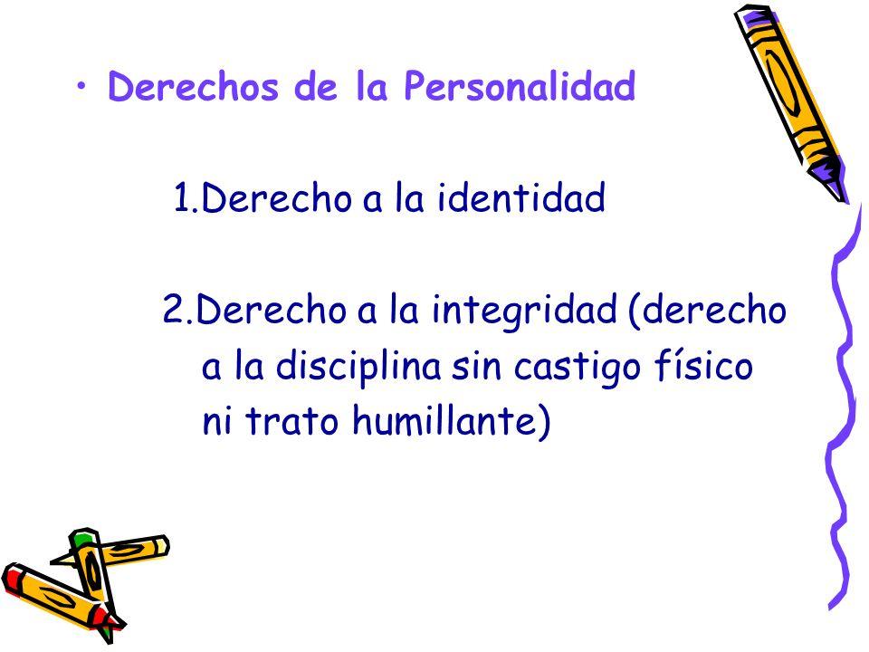 Derechos de la Personalidad 1.Derecho a la identidad 2.Derecho a la integridad (derecho a la disciplina sin castigo físico ni trato humillante)