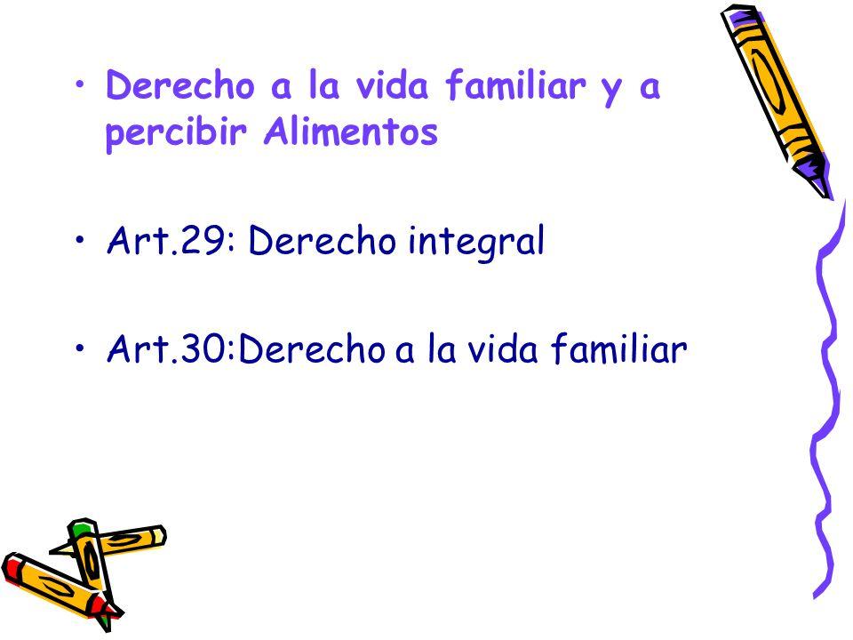 Derecho a la vida familiar y a percibir Alimentos Art.29: Derecho integral Art.30:Derecho a la vida familiar