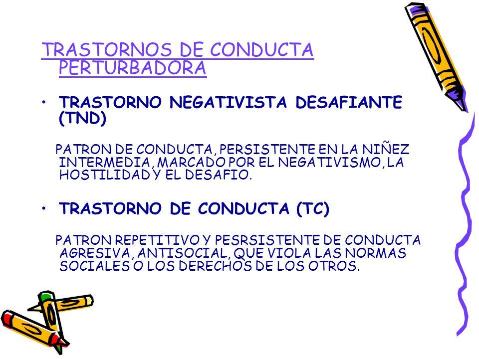 TRASTORNOS DE CONDUCTA PERTURBADORA TRASTORNO NEGATIVISTA DESAFIANTE (TND) PATRON DE CONDUCTA, PERSISTENTE EN LA NIÑEZ INTERMEDIA, MARCADO POR EL NEGA