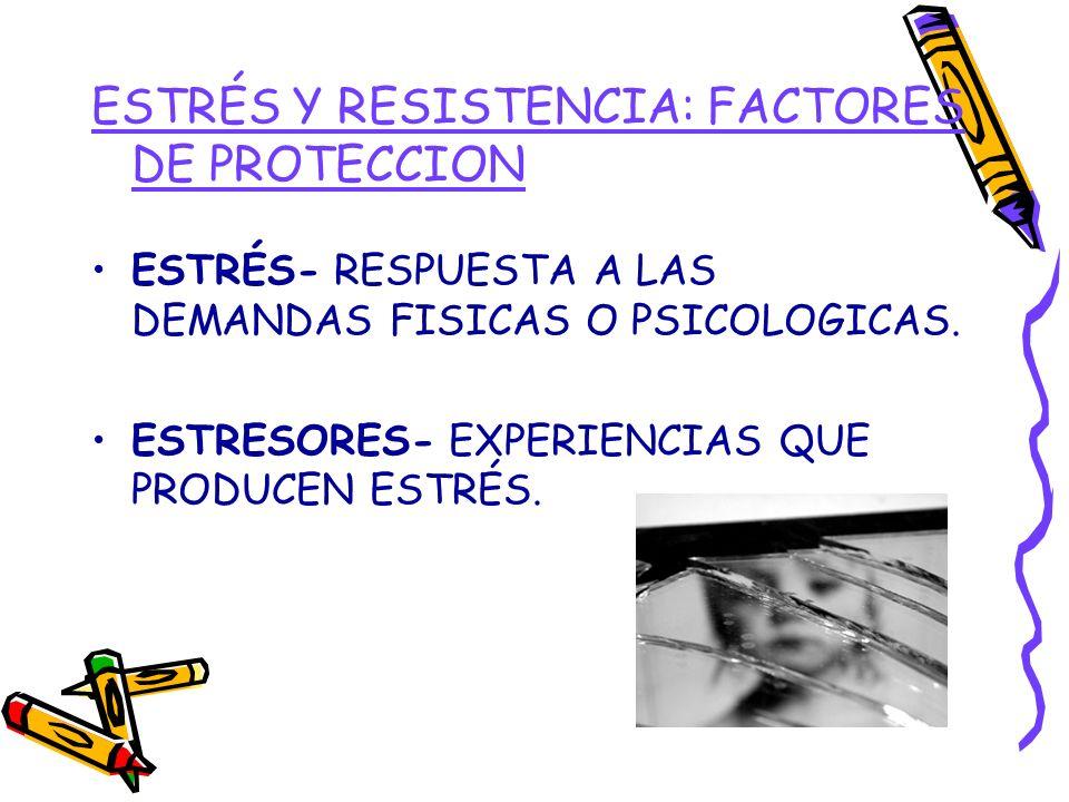 ESTRÉS Y RESISTENCIA: FACTORES DE PROTECCION ESTRÉS- RESPUESTA A LAS DEMANDAS FISICAS O PSICOLOGICAS. ESTRESORES- EXPERIENCIAS QUE PRODUCEN ESTRÉS.