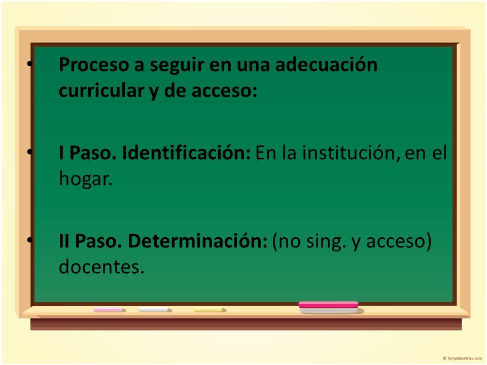 Proceso a seguir en una adecuación curricular y de acceso: I Paso. Identificación: En la institución, en el hogar. II Paso. Determinación: (no sing. y