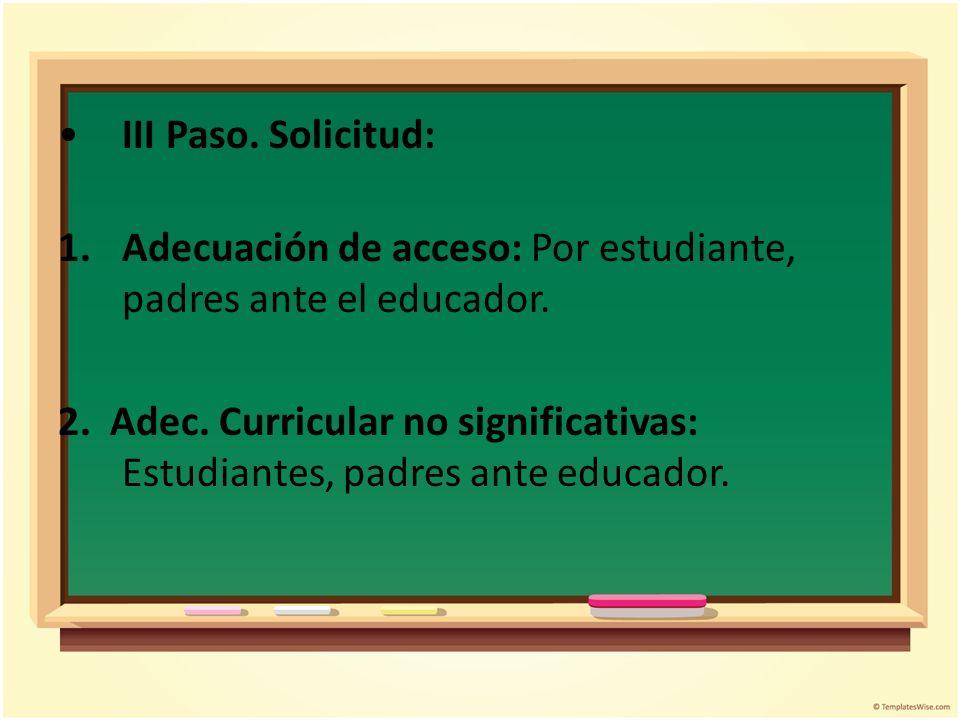 III Paso. Solicitud: 1.Adecuación de acceso: Por estudiante, padres ante el educador. 2. Adec. Curricular no significativas: Estudiantes, padres ante