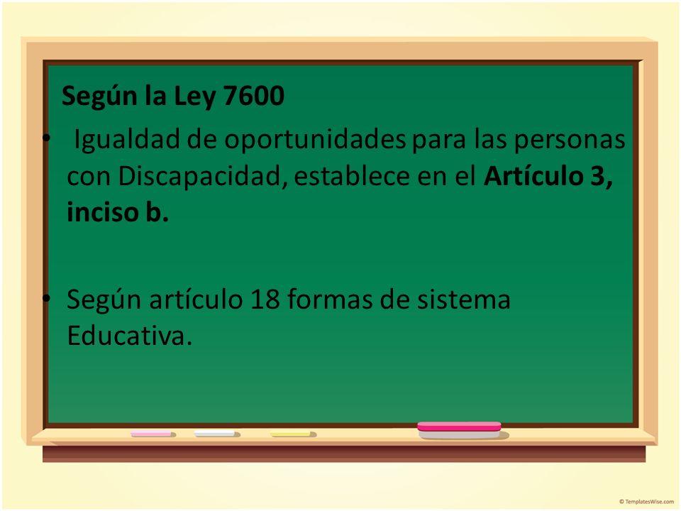 Según la Ley 7600 Igualdad de oportunidades para las personas con Discapacidad, establece en el Artículo 3, inciso b. Según artículo 18 formas de sist