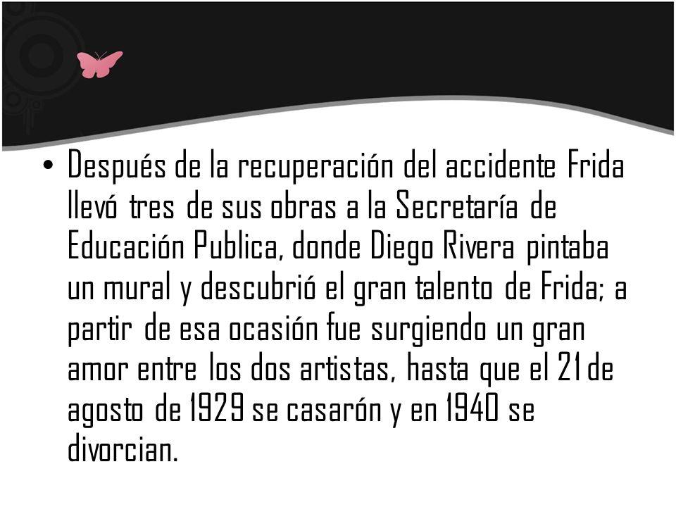 Después de la recuperación del accidente Frida llevó tres de sus obras a la Secretaría de Educación Publica, donde Diego Rivera pintaba un mural y des