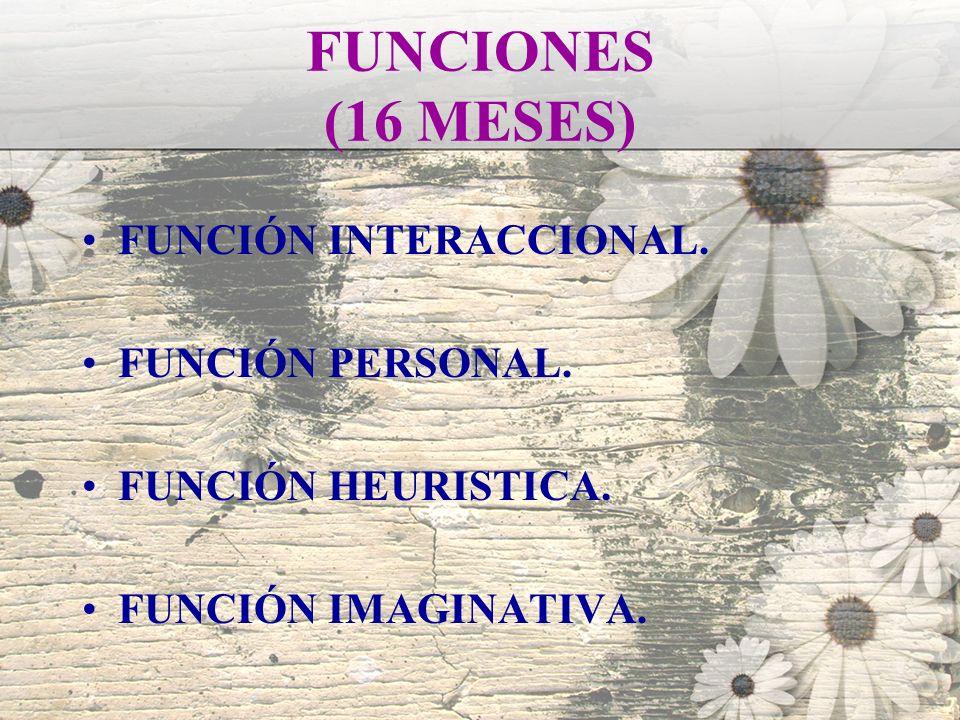 FUNCIONES (16 MESES) FUNCIÓN INTERACCIONAL. FUNCIÓN PERSONAL. FUNCIÓN HEURISTICA. FUNCIÓN IMAGINATIVA.
