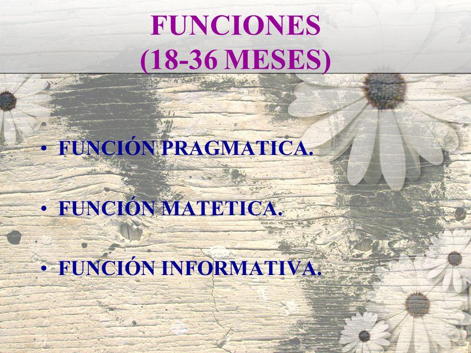 FUNCIONES (18-36 MESES) FUNCIÓN PRAGMATICA. FUNCIÓN MATETICA. FUNCIÓN INFORMATIVA.
