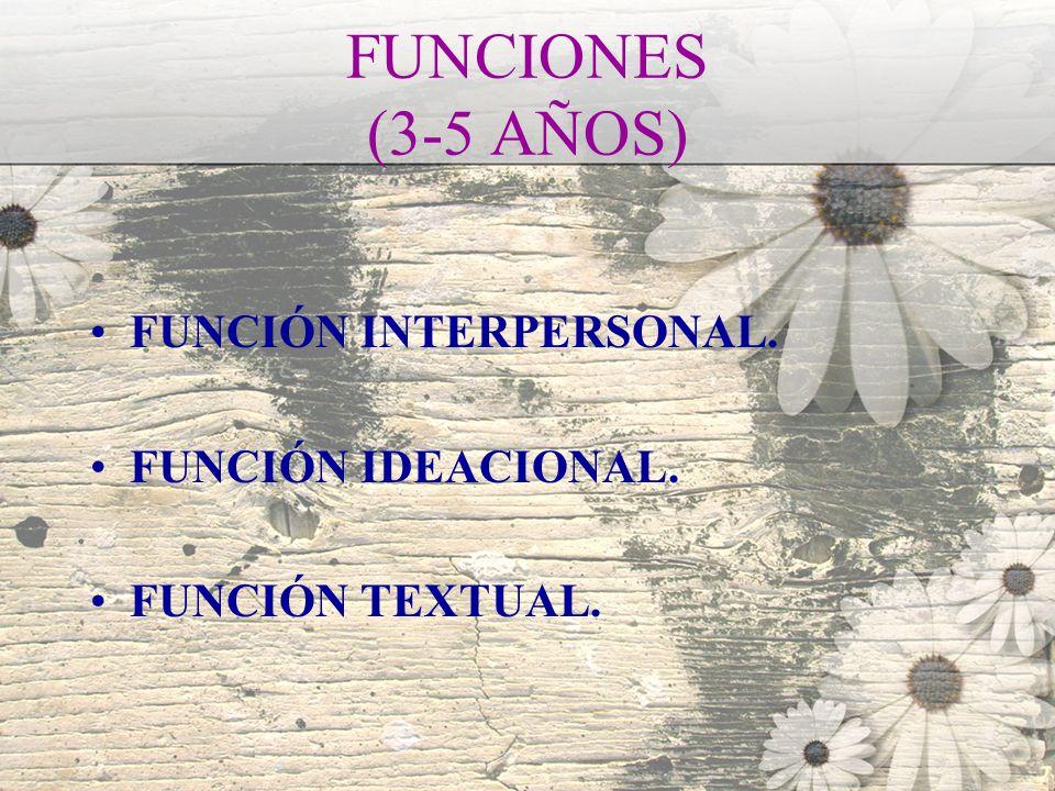 FUNCIONES (3-5 AÑOS) FUNCIÓN INTERPERSONAL. FUNCIÓN IDEACIONAL. FUNCIÓN TEXTUAL.