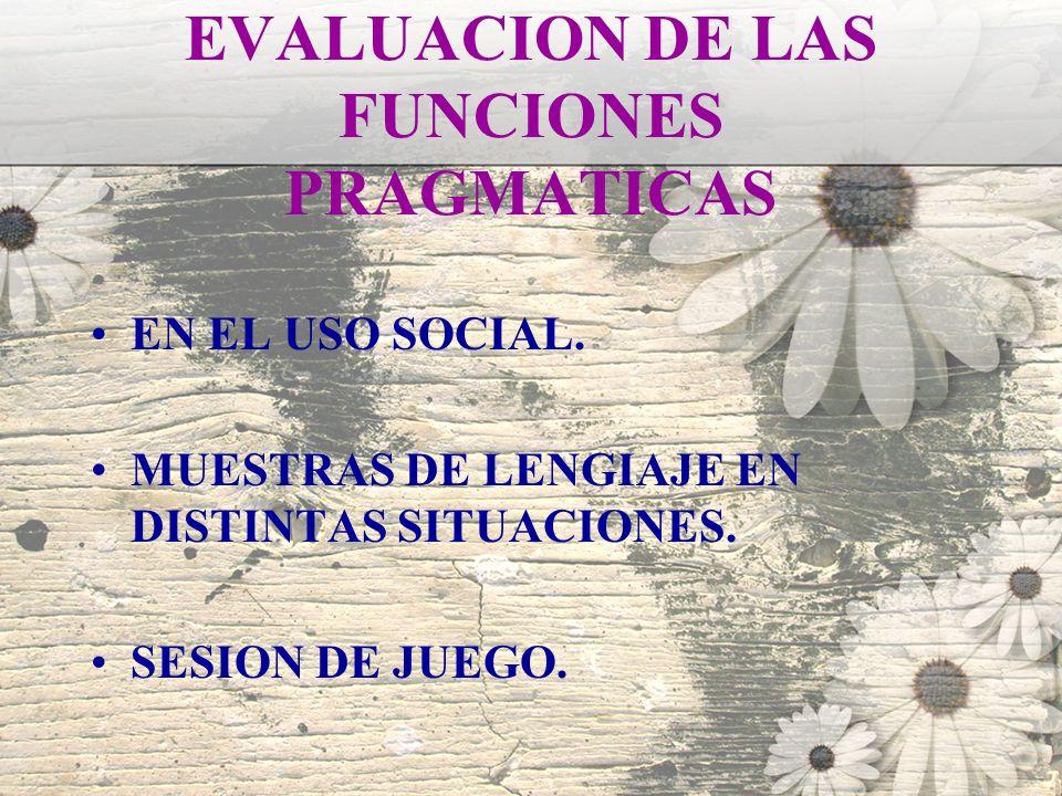 EVALUACION DE LAS FUNCIONES PRAGMATICAS EN EL USO SOCIAL. MUESTRAS DE LENGIAJE EN DISTINTAS SITUACIONES. SESION DE JUEGO.