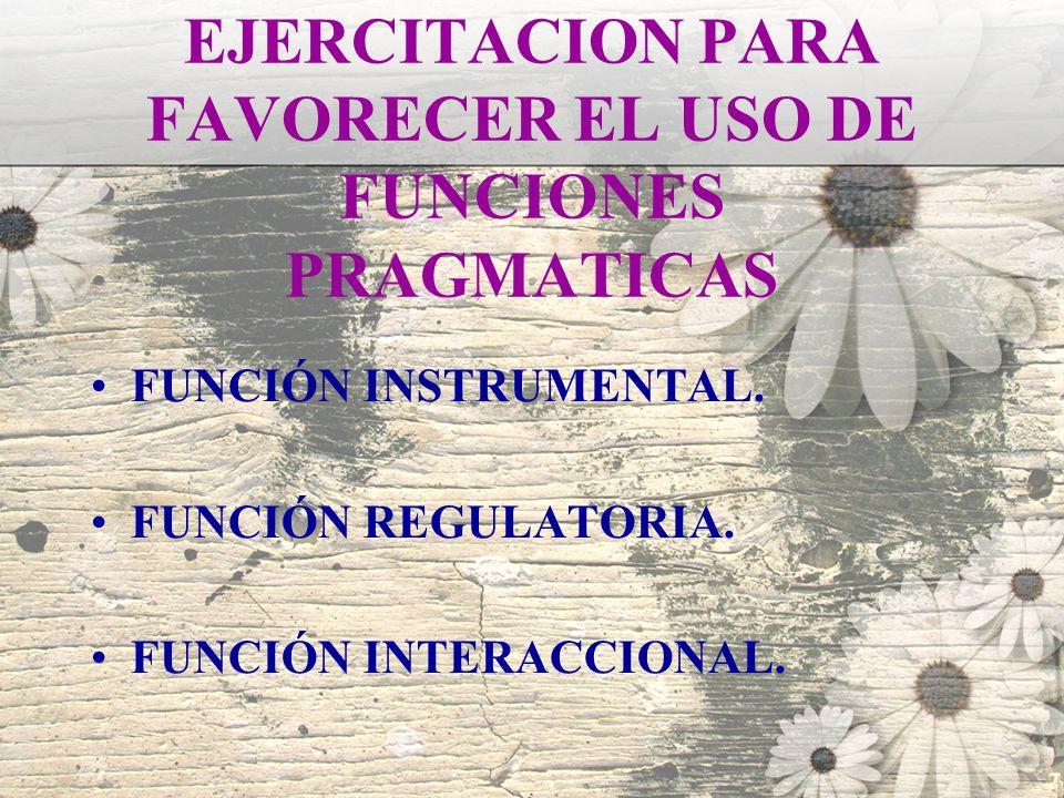 EJERCITACION PARA FAVORECER EL USO DE FUNCIONES PRAGMATICAS FUNCIÓN INSTRUMENTAL. FUNCIÓN REGULATORIA. FUNCIÓN INTERACCIONAL.