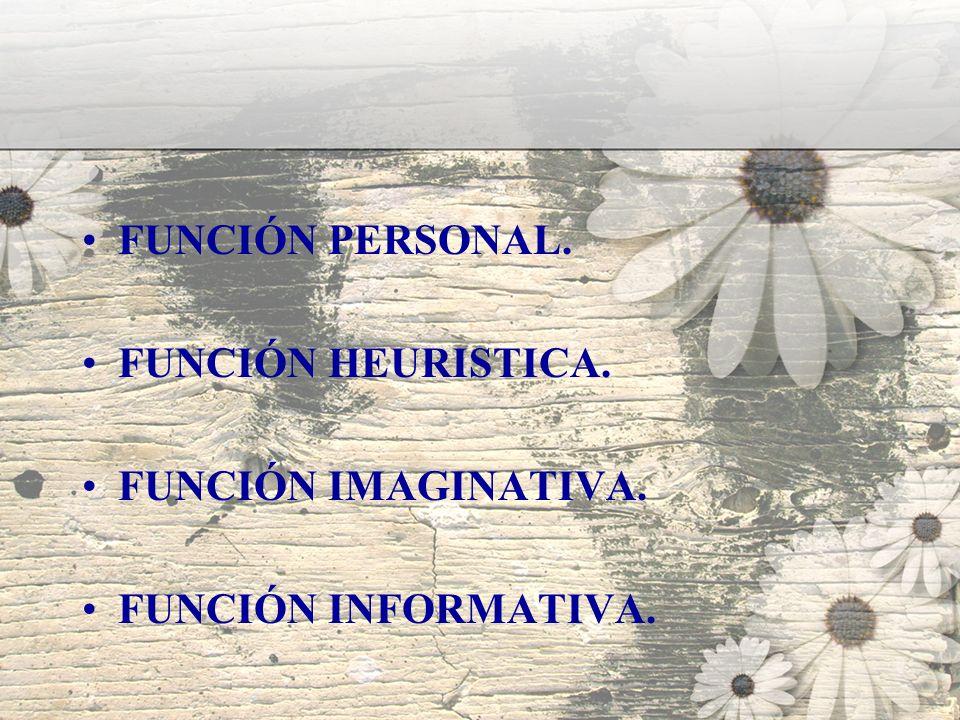 FUNCIÓN PERSONAL. FUNCIÓN HEURISTICA. FUNCIÓN IMAGINATIVA. FUNCIÓN INFORMATIVA.