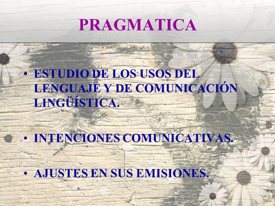 PRAGMATICA ESTUDIO DE LOS USOS DEL LENGUAJE Y DE COMUNICACIÓN LINGÜÍSTICA. INTENCIONES COMUNICATIVAS. AJUSTES EN SUS EMISIONES.