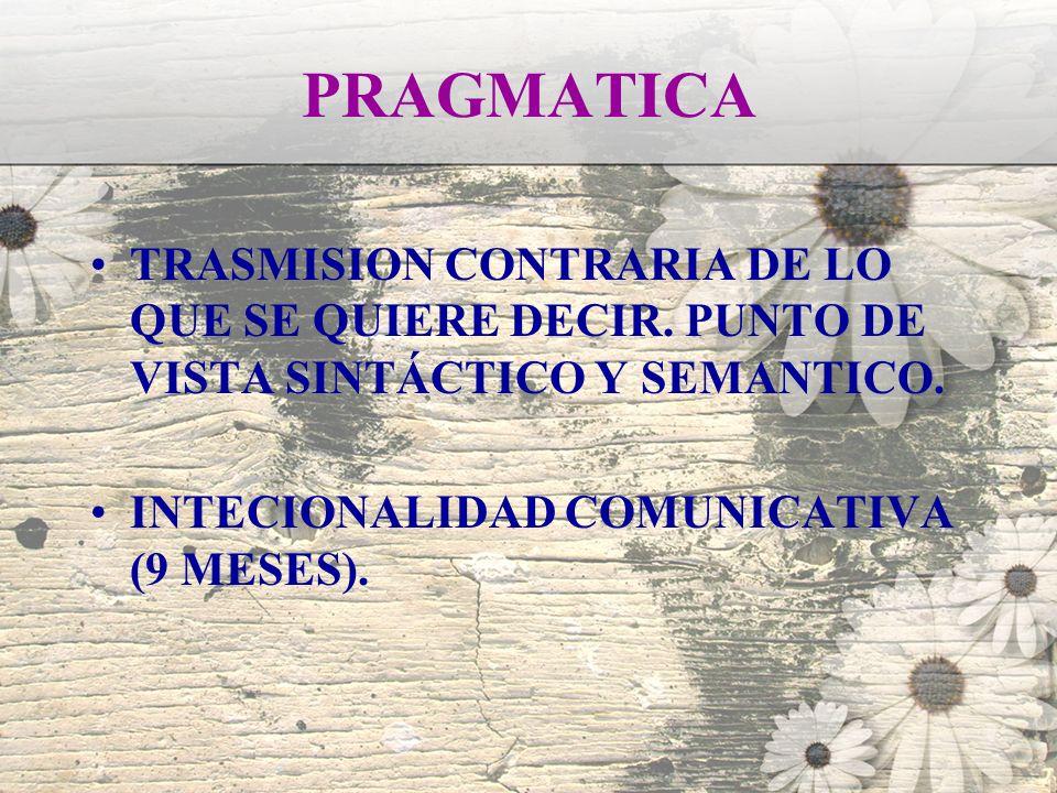 PRAGMATICA TRASMISION CONTRARIA DE LO QUE SE QUIERE DECIR. PUNTO DE VISTA SINTÁCTICO Y SEMANTICO. INTECIONALIDAD COMUNICATIVA (9 MESES).
