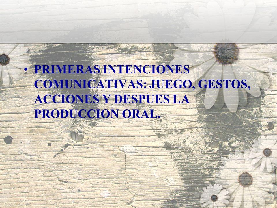 PRIMERAS INTENCIONES COMUNICATIVAS: JUEGO, GESTOS, ACCIONES Y DESPUES LA PRODUCCION ORAL.