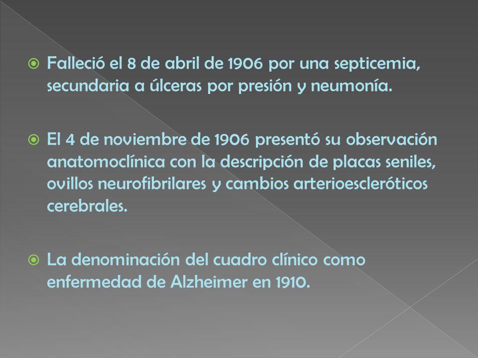 Falleció el 8 de abril de 1906 por una septicemia, secundaria a úlceras por presión y neumonía. El 4 de noviembre de 1906 presentó su observación anat