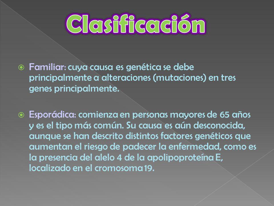 Familiar: cuya causa es genética se debe principalmente a alteraciones (mutaciones) en tres genes principalmente. Esporádica: comienza en personas may