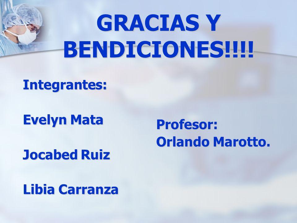 GRACIAS Y BENDICIONES!!!! Integrantes: Evelyn Mata Jocabed Ruiz Libia Carranza Profesor: Orlando Marotto.