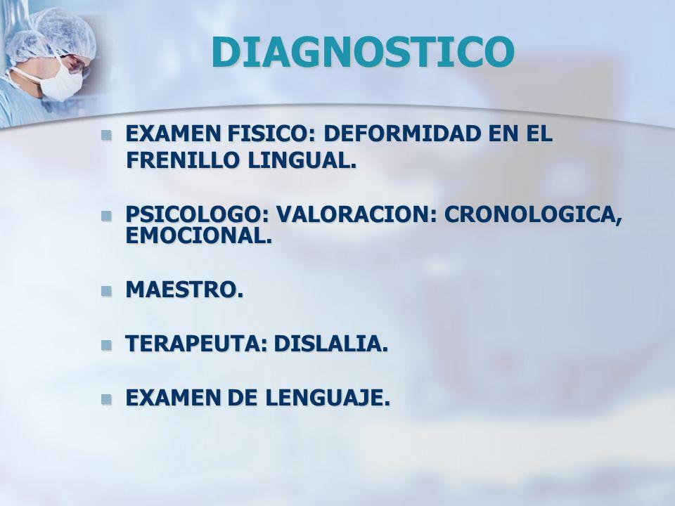 DIAGNOSTICO EXAMEN FISICO: DEFORMIDAD EN EL EXAMEN FISICO: DEFORMIDAD EN EL FRENILLO LINGUAL. FRENILLO LINGUAL. PSICOLOGO: VALORACION: CRONOLOGICA, EM