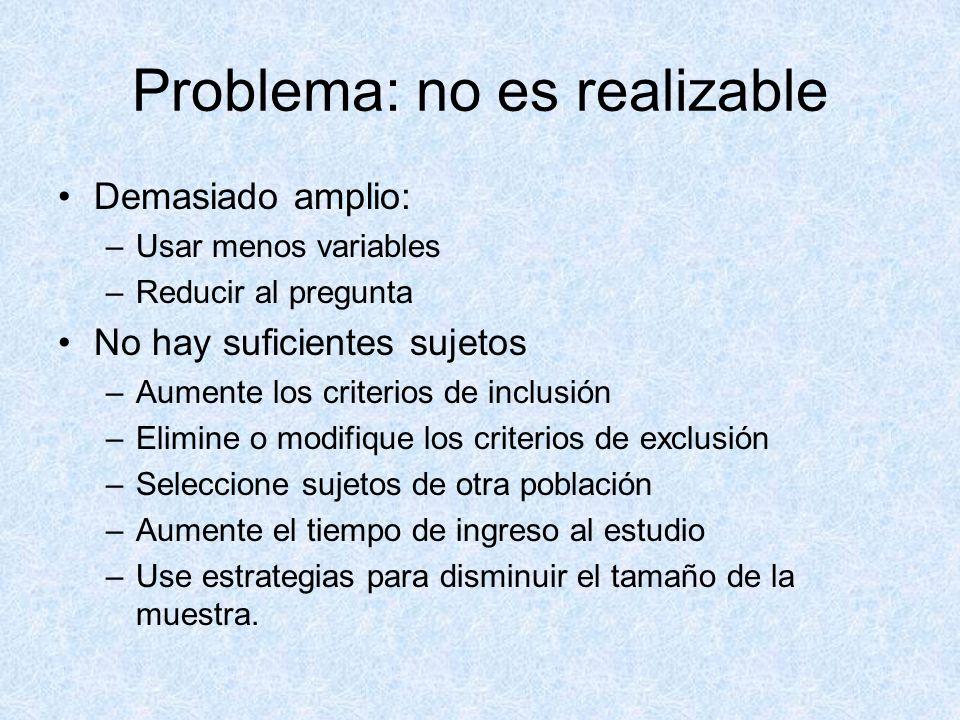 Problema: no es realizable Métodos mas allá de las capacidades del investigador: –Busque la colaboración de colegas con las destrezas necesarias.